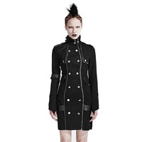 Punk Black High Collar Slim Casual Dress Women Long Sleeves Close Fitting Army Uniform Dress Black Cotton Dress
