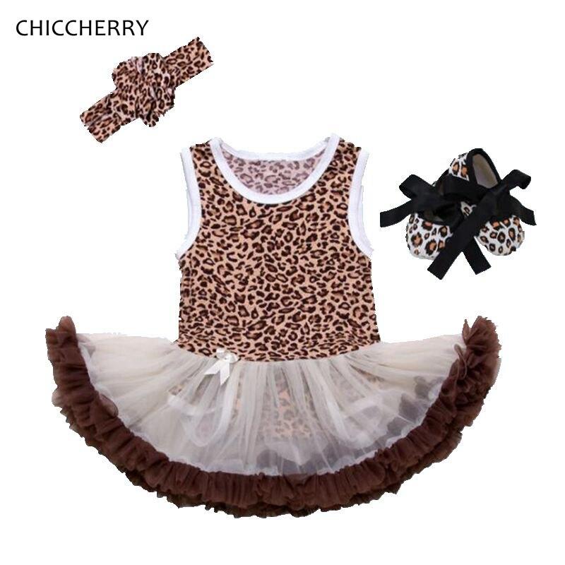Fashion 2018 Leopard Print Baby Girl Summer Clothes Lace Petti Romper Dress Headband Crib Shoes Newborn Tutu Set Infant Clothing