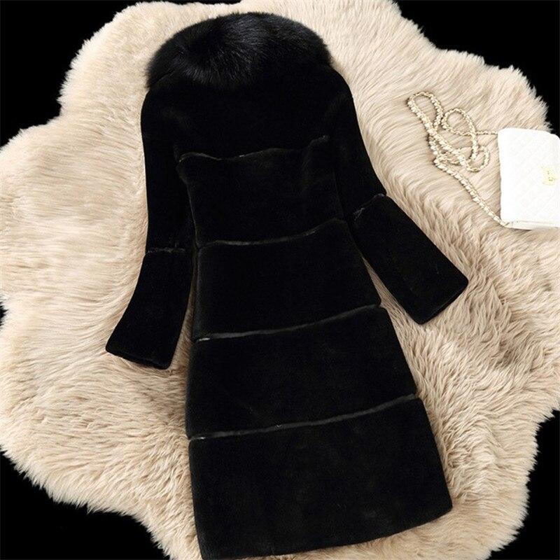 Rouge Faux noir De 2019 Style Furry Manteau La Plus Long gris Coréenne 4xl 5xl Fourrure Hiver Femmes Taille Oversize Vêtements K5TFc3ul1J