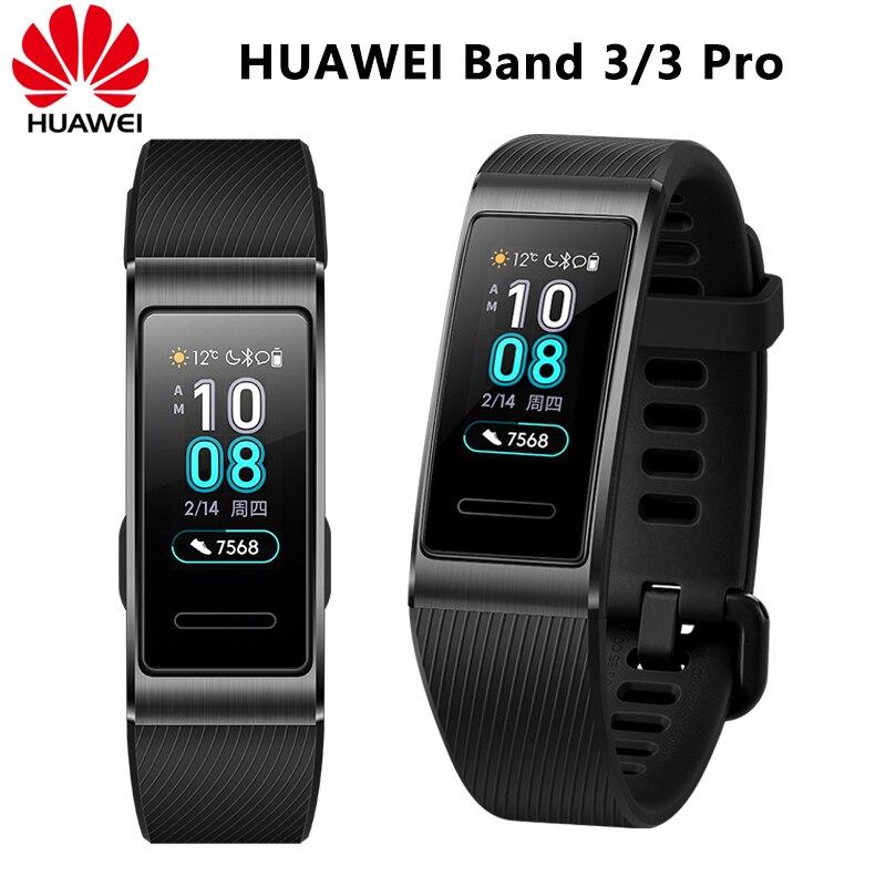 Bracelet intelligent d'origine Huawei Band 3 Pro 0.95 'Tracker natation étanche Bluetooth Fitness écran tactile montre intelligente Bracelet