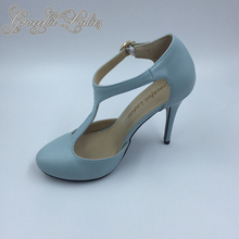 Light Blue Pointed Toe T-strap Wedding Pump Shoes High Heels Ankle Strap Stilettos Bridal Shoes Soft Leather Buckle Strap 2016
