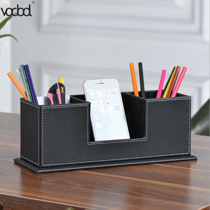 VODOOL Leather Multi-functional Desktop Stationery Organizer Storage Box Pen Box Case Business Cards Holder Office Supplies never leather badge holder business card holder neck lanyards for id cards waterproof antimagnetic card sets school supplies
