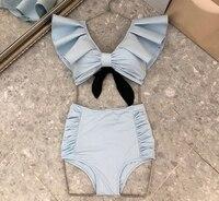 Для женщин однотонные обтягивающие трико Высокое качество рукавов оборками V шеи комбинезон лето осень Комбинезон для плавания