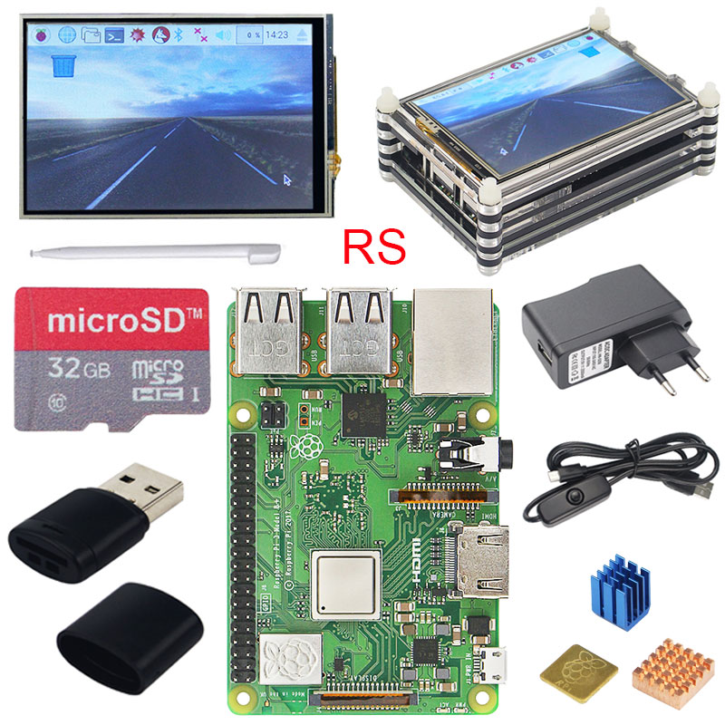 Original Raspberry Pi 3 Modelo B + Plus UK hecho Kit pulgadas pantalla táctil de 3,5 + carcasa + potencia + 32 GB SD + HDMI + disipador térmico + Cable USB - 2