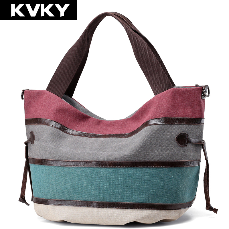 KVKY Vintage Canvas Women Handbag Casual Ladies Large Capacity Shoulder Bag Patchwork Female Tote Designer Messenger Bag Bolsos women canvas messenger bags female crossbody bags solid shoulder bag fashion casual designer handbag large capacity tote gifts