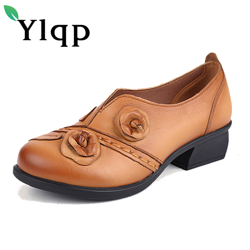 2018 Genuine Leather Mother Shoes Women's Singles Shoes Retro National Wind Handmade Comfortable Flower Shoes for Female Loafers phil collins singles 4 lp