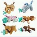 Animal bebé chupete con felpa niños divertidos pezones pezón chupetes de silicona de dibujos animados lindo bebé con juguete de peluche mono