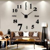New Arrival Household Decoration Big Mirror Wall Clock Modern Design 3D DIY Large Decorative Wall Clocks