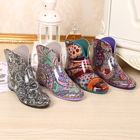 2017 New Color Flower Print Sexy Ankle Rain Boots Woman Spring Rubber Ladies Fashion Water Shoes