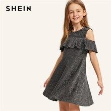 SHEIN детское серебряное блестящее платье с открытыми плечами и оборкой для девочек, 2019 летнее платье трапециевидной формы для вечерние, одежда для девочек