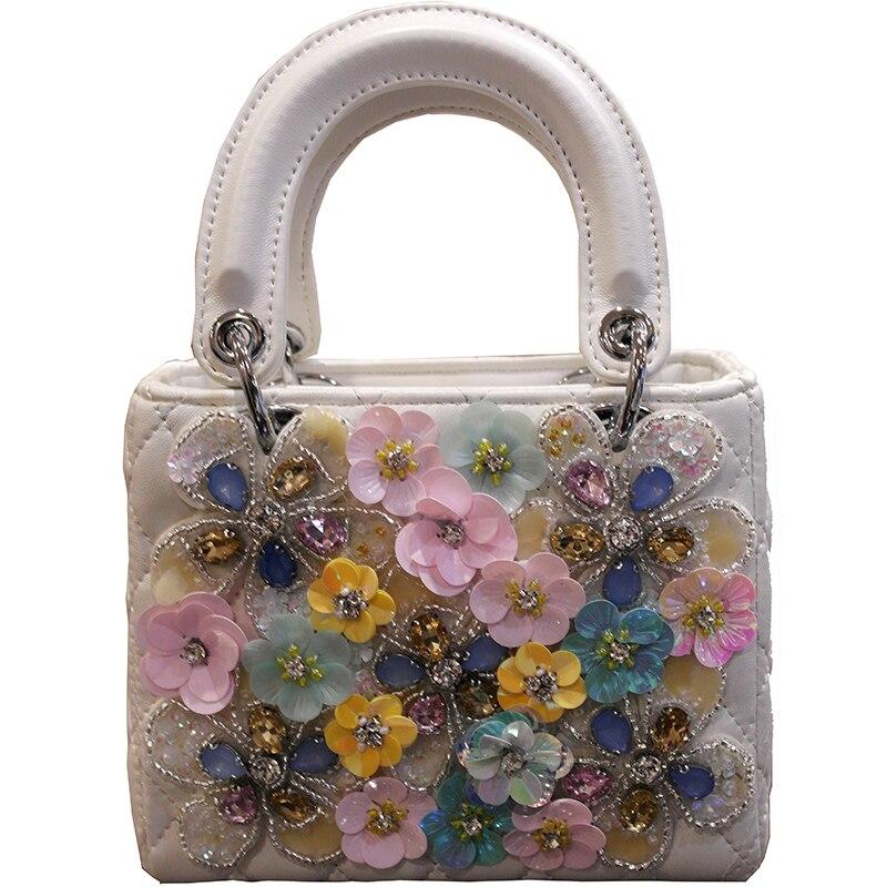 Sac à main de luxe pour femmes 2019 nouvelle qualité en cuir PU fait à la main en diamant sac fourre-tout fleur sac à bandoulière Messenger sac de Banquet