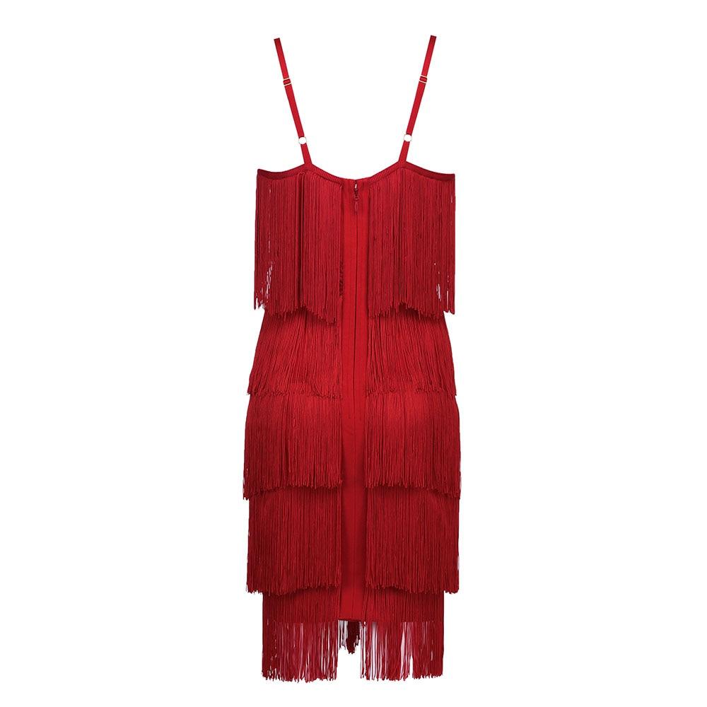 Gratis Verzending Vrouwen Zomer Jurk 2019 Sexy Zwart Rood Kwastje Bodycon Bandage Jurk 2019 Designer Fashion Party Jurk Vestido