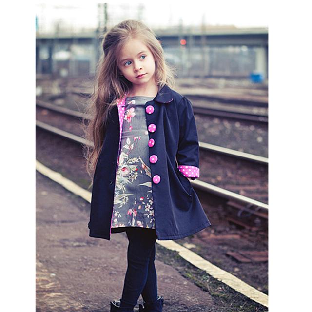 Europeu Outono Crianças Casacos Meninas Da Moda Manteau Enfant Fille Bonito Dot Casaco Menina Primavera Casacos E Jaquetas de Meninas