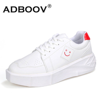 Mens Thick Sole Heighten Increasing Casual Shoes Fashion Boys Flat Platform Shoes Smile Logo Up Plus
