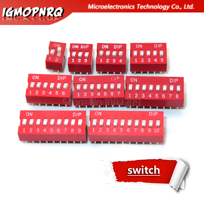 50PCS Red 2.54mm Pitch 1-Bit 1 Positions Ways Slide Type DIP Switch