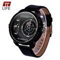 TTLIFE Бренд Дизайнер Кожа Кварцевые Наручные Часы Военная Мода большой циферблат часы Мужчины Спорт Военные Часы relojes deportivos