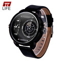 TTLIFE Brand Designer Leather Quartz Wrist Watch Military Fashion large dial watch Men Sport Military Watch relojes deportivos