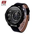 TTLIFE Diseñador de la Marca de Moda de Cuero Pulsera de Cuarzo Militar dial grande reloj de Los Hombres Del Deporte Militar Reloj relojes deportivos