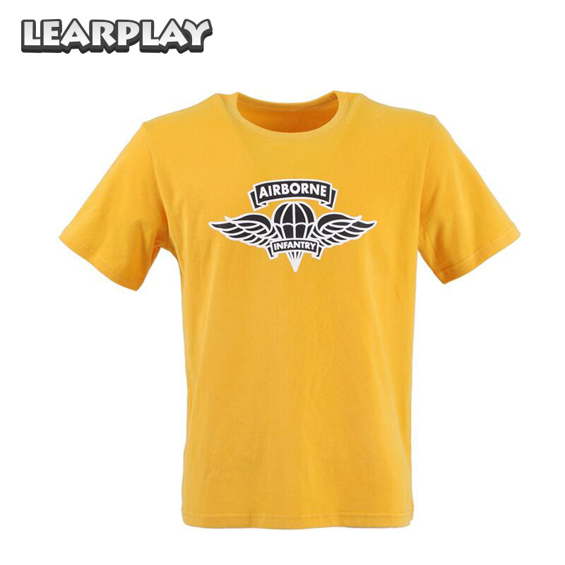 Wolfenstein II Yellow T-shirt The New Colossus Airborne Infantry Cosplay Costume Cotton Short Sleeve Tshirt Basic Tee Unisex Top
