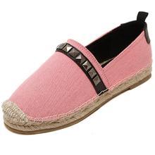 Rivets Canvas Casual Flat Shoes Woman Slip On Loafers Cane Hemp Platform Denim Pink Blue Flat Shoes 35-40