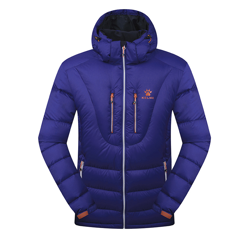 Kelme K46C5037 Men Long Sleeve Hooded Windproof Keep Warm Cotton Outdoor Sport Medium-long Down Jacket Dark Blue