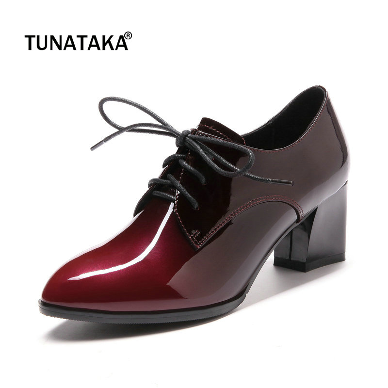 Genuine Leather Comfort Square Heel Lace Up Woman Pumps Fashion Pointed Toe Dress High Heel Shoes Woman Red Apricot
