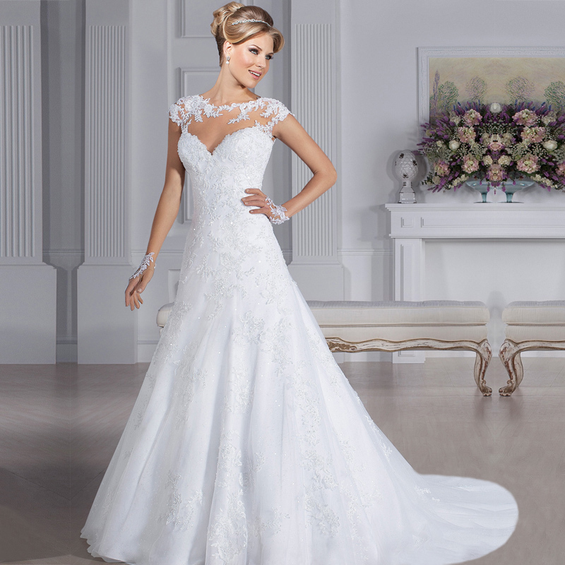 Bridal Gowns With Lace Cap Sleeves: W3194 Cheap A Line Scoop Neck Heart Lace Back Wedding