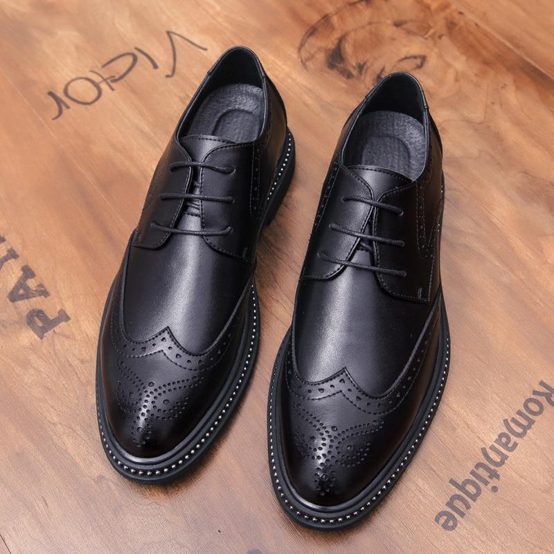 Black brown Size39 Cuir En De Lacent Bout Pointu Mode Sculpture Richelieu Respirant Hommes 44 Chaussures Causalité Bullock Véritable pwaFxTfqf