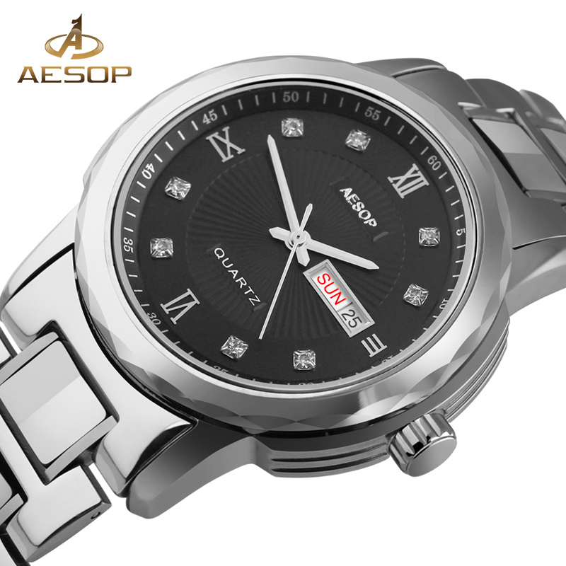 AESOP Men Watch Brand Quartz Men Wrist Wristwatch Stainless Steel Famous Male Clock Black Calendar Relogio Masculino Hodinky 27 new stainless steel wristwatch quartz watch men top brand luxury famous wrist watch male clock for men hodinky relogio masculino