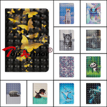 TPU+PU Leather Cover For Samsung Galaxy Tab A A6 10.1″ 2016 T585 T580 SM-T580 3D Painted Smart Tablet Case Flip Anti skid Bags