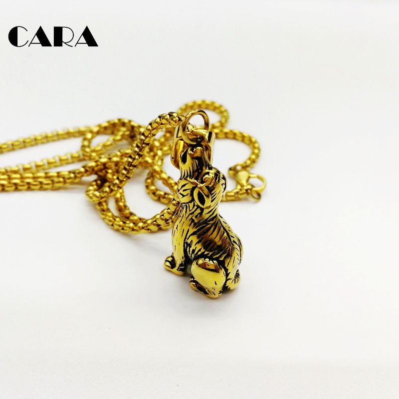 Pet Dog charm necklace 316L stainless steel Animal Dog pendant necklace for men women fashion hip hop gold necklace CARA0375 in Pendant Necklaces from Jewelry Accessories