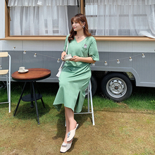 New fashion plus-size dress loose slim matcha green little fresh 2108