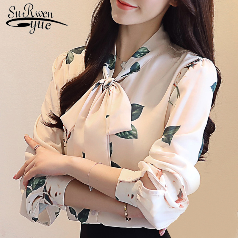 fashion 2018 long sleeve chiffon women blouse shirt casual bow v-neck women tops blusa feminina shirt women OL blouses 0885 40