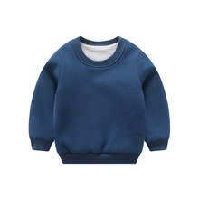 2017 round neck pure cotton Korean version of pure color plus cashmere sweater children's clothing