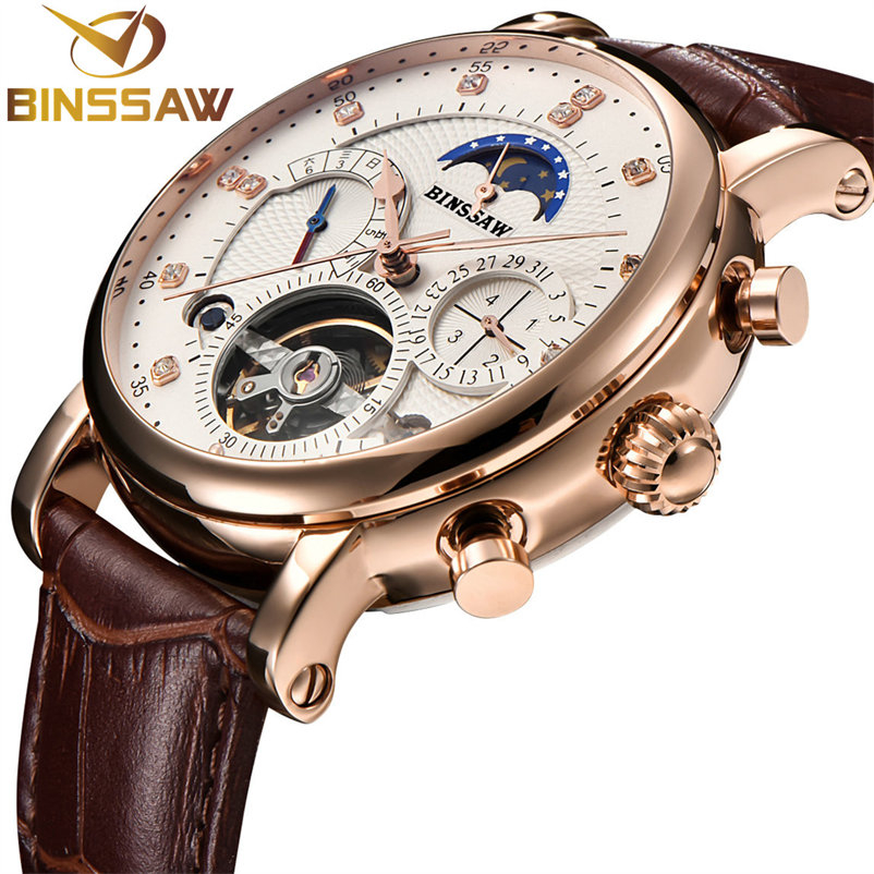 BINSSAW Mechanical Watch Men Sport Tourbillon Automatic Top Luxury Brand Relojes Hombre Leather Moon Phase Watches