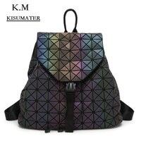 Luminous Backpacks Women's Fashion Daily Backpack Geometry Package Sequins Folding School Bag hologram backpack