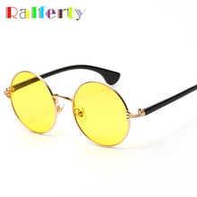 Ralferty 2017 Candy Colored Sunglasses Women Round Sun Glasses Yellow Blue Pink Transparent Eyewear Ladies Circle Sunglass 6301