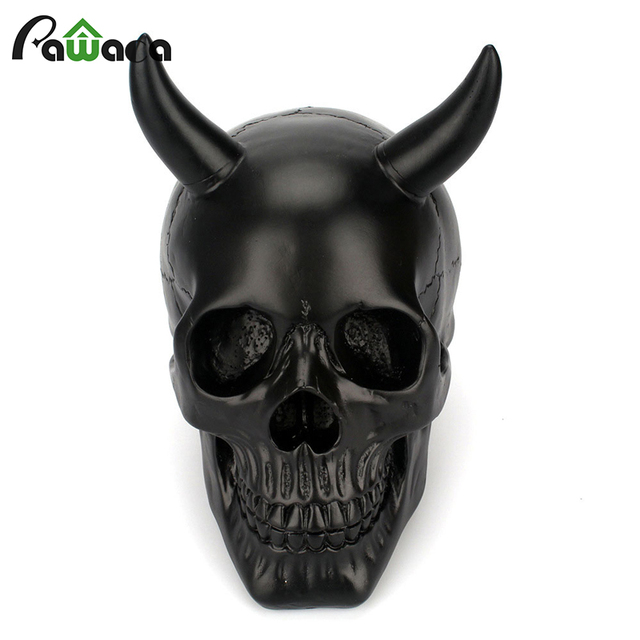 Halloween Horns Skull Decoration Table Ornament Craft Resin Human