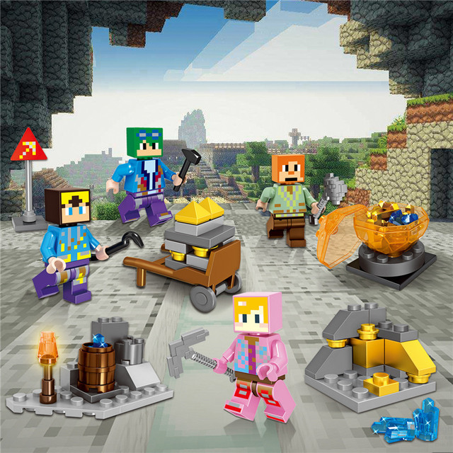 2018 HOT Minecraft Mineral Mining Minifigure Building Blocks Sets Educational Toy for Children Compatible LegoING Christmas Gift 1