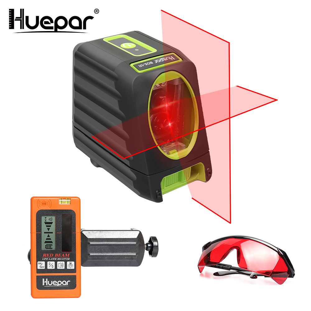 Huepar Self-leveling Red Beam Cross Line Laser Level+LR635 Red Beam Digital Laser Receiver+Red Laser Enhancement Glasses bbloop out bold rounded self inking stamp rectangular laser engraved red