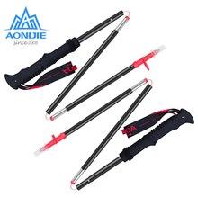 2pcs AONIJIE E4070 E4090 Tri-fold Folding Ultralight Quick Lock Trekking Poles Hiking Pole Walking Running Stick Aluminium Alloy