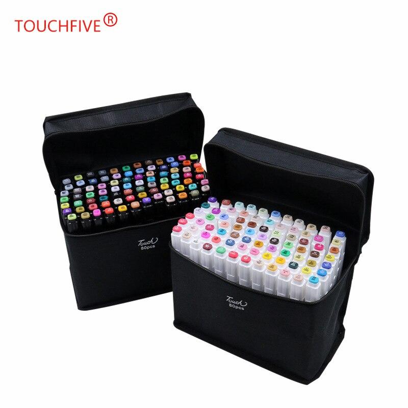 TouchFIVE 80 marqueurs d'art couleur Set double tête artiste croquis huileux à base d'alcool marqueurs pour Animation Manga peinture fournitures