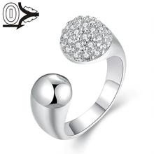 2016 New Arrival Silver plated Ring Silver Fashion Jewelry Women Gift Smooth Zircon Head Silver Finger