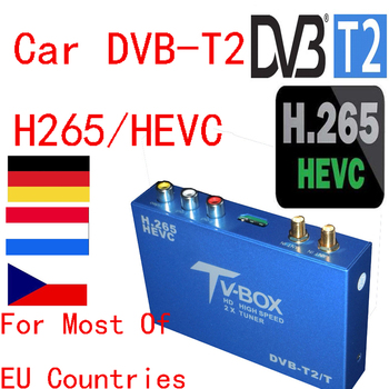 Newest DVB-T2 H.265 Car Digital TV Receiver DTV Mobile 2 Antenna HD DVB T2 /H265.HEVC For Germany Netherland Czech EU Country