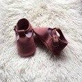 Gamuza rosa t-bar hebilla bebé mocasín