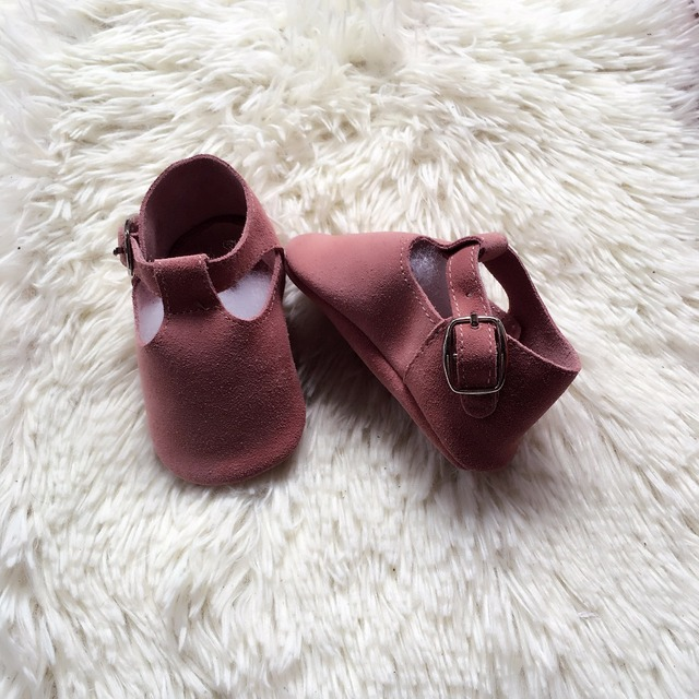 Pink suede T-bar buckle baby moccasin