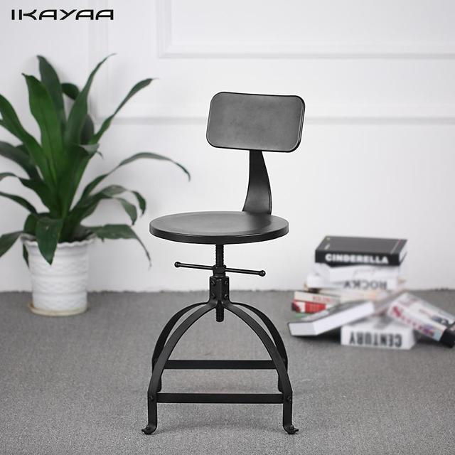 IKayaa Industrial Style Metal Bar Stool Adjustable Height Black Swivel Bar  Stool With Backrest Bar Furniture