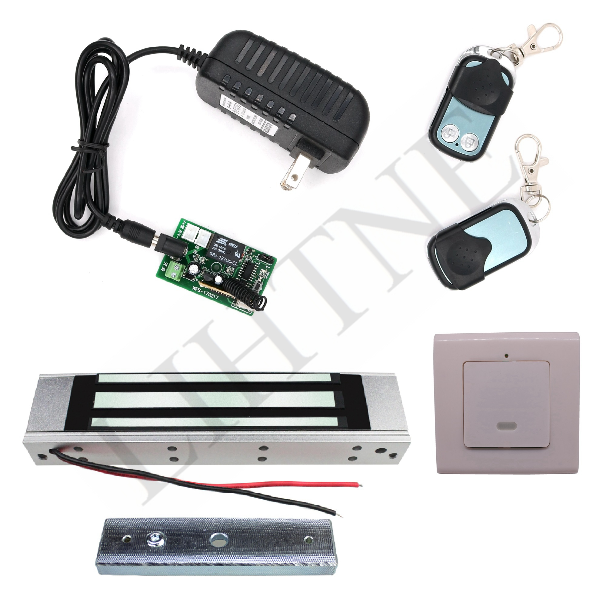 180Kg 350Lbs 315Mhz Wireless Remote Control Magnetic Lock with 2 Remote Handle Wireless Exit Button 3m Cable diy lock system metal keypadl k2 electric control lock 3a power supply exit button 10pcs key cards wireless remote control