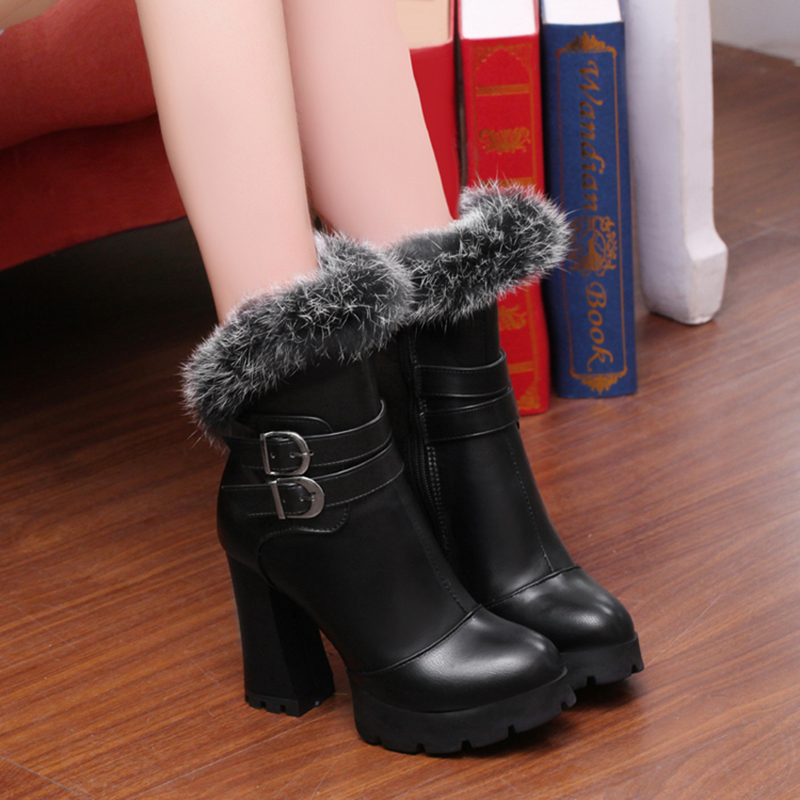 2016 New Fashion Winter Women Ankle Boots High Heels Rabbit hair High Quality Leather Zipper Botas Mujer Sexy Lady Zapatos new winter botas mujer fashion women ankle boots square heel platforms zapatos mujer pu leather high pump boots motorcycle shoes