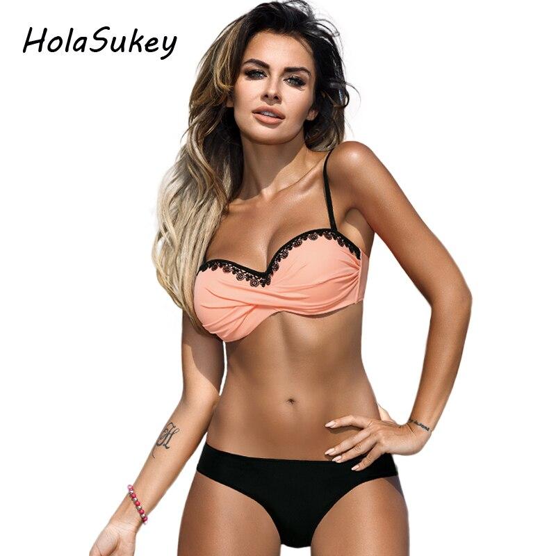 HolaSukey 2018 Sexy Solid Bikini New Patchwork Swimsuit Women Lace Bandeau Swimwear Female Bikini Set Summer Bathing Suits 1